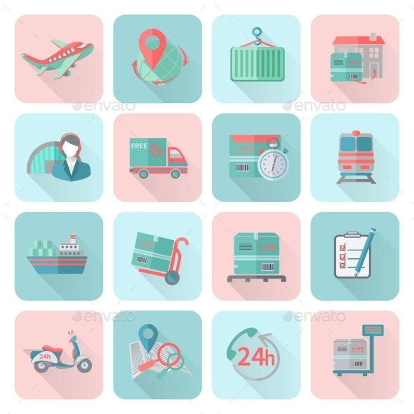 GraphicRiver Logistic Icons Set Flat 9863159