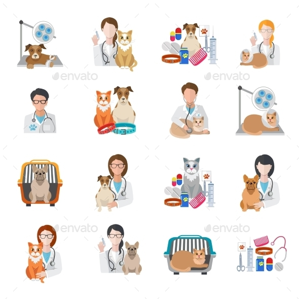 GraphicRiver Veterinary Icon Flat 9863222