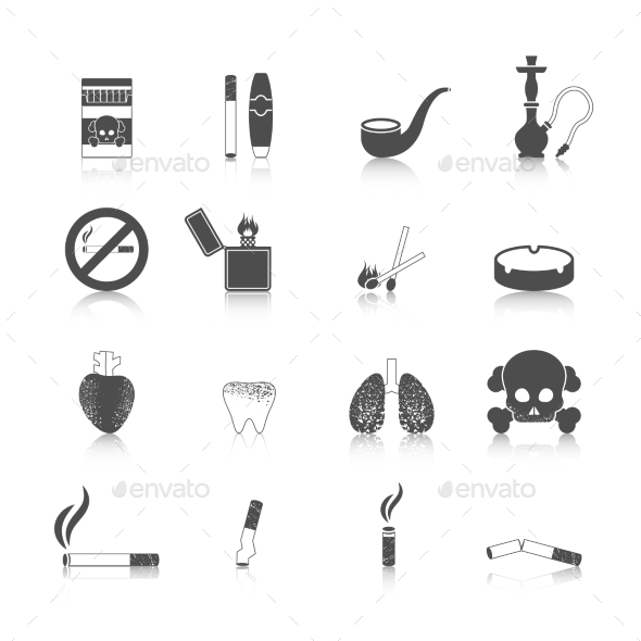 GraphicRiver Smoking Icon Black Set 9863241