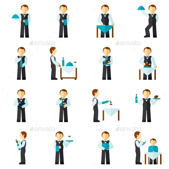 GraphicRiver Waiter Man Icon Flat 9863250