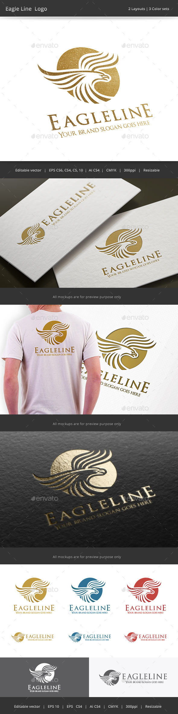 GraphicRiver Eagle Line Logo 9863295