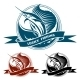 Nautical Retro Label with Jumping Sail Fish - GraphicRiver Item for Sale