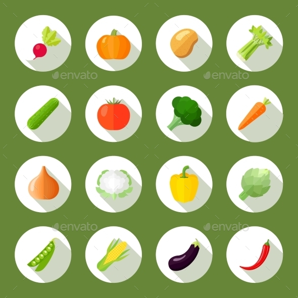 GraphicRiver Vegetables Icons Flat Set 9863780