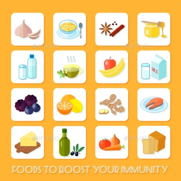 GraphicRiver Healthy Food Icons Flat 9863783