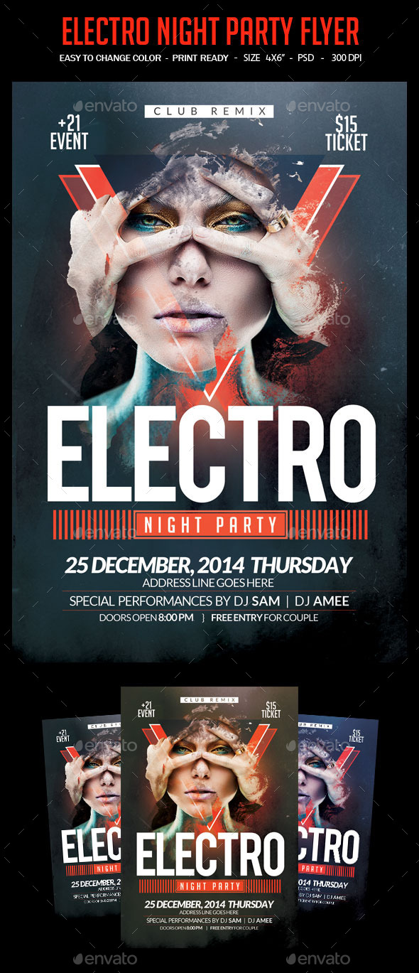 GraphicRiver Electro Night Party Flyer Template 9863797
