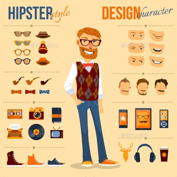 GraphicRiver Hipster Character Pack 9863942