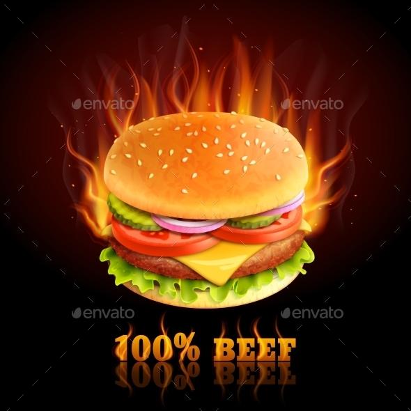 GraphicRiver Beef Hamburger Background 9863998