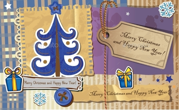 GraphicRiver Scrapbook Christmas Greeting Card 9864232