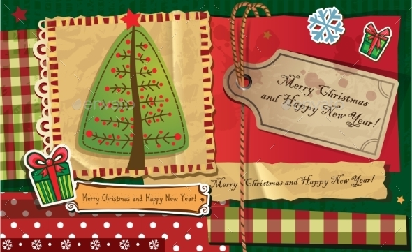 GraphicRiver Scrapbook Christmas Greeting Card 9864235