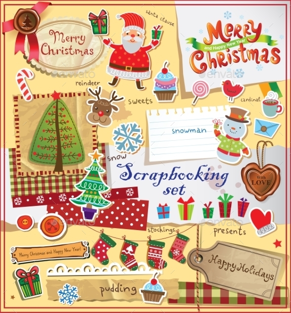 GraphicRiver Christmas Scrapbook Set 9864246