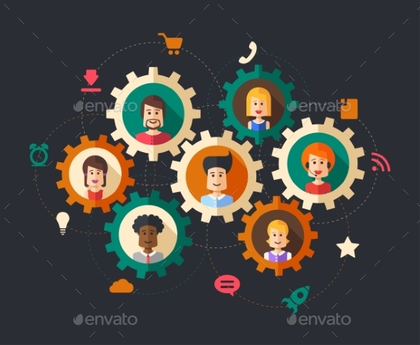 GraphicRiver Illustration of Abstract Business People 9864781