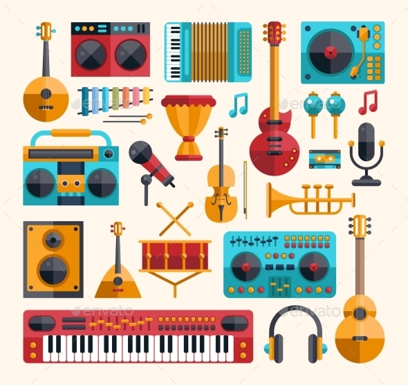 GraphicRiver Set of Modern Flat Musical Instrument Icons 9864807