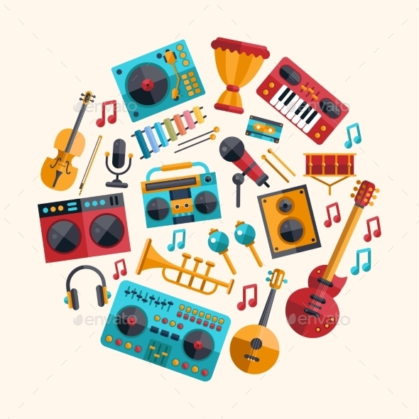 GraphicRiver Set of Modern Flat Musical Instrument Icons 9864809
