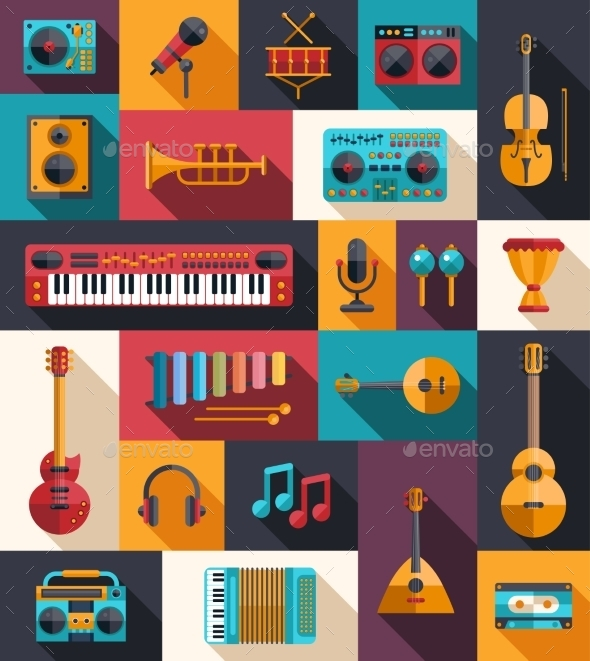 GraphicRiver Set of Modern Flat Musical Instrument Icons 9864812