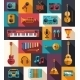 Set of Modern Flat Musical Instrument Icons - GraphicRiver Item for Sale