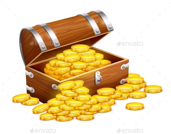 GraphicRiver Pirates Trunk Chest Full of Gold Coins 9865239