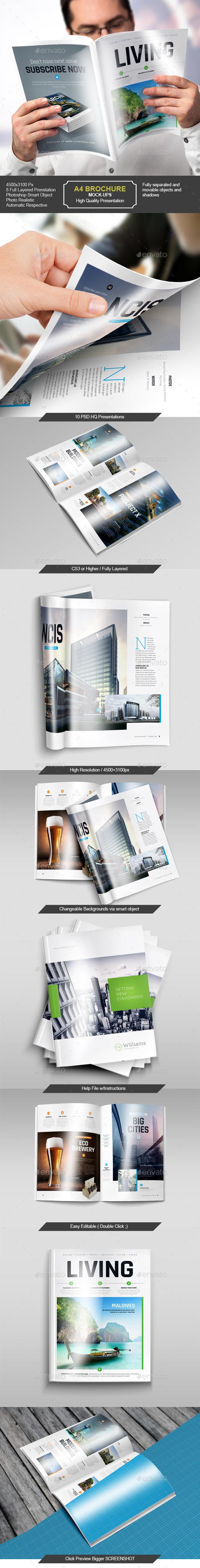 GraphicRiver A4 Brochure Magazine Mock-Up Set 9865452