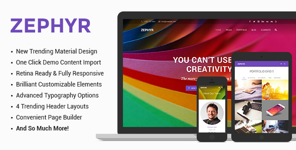 ThemeForest Zephyr Material Design Theme 9865647