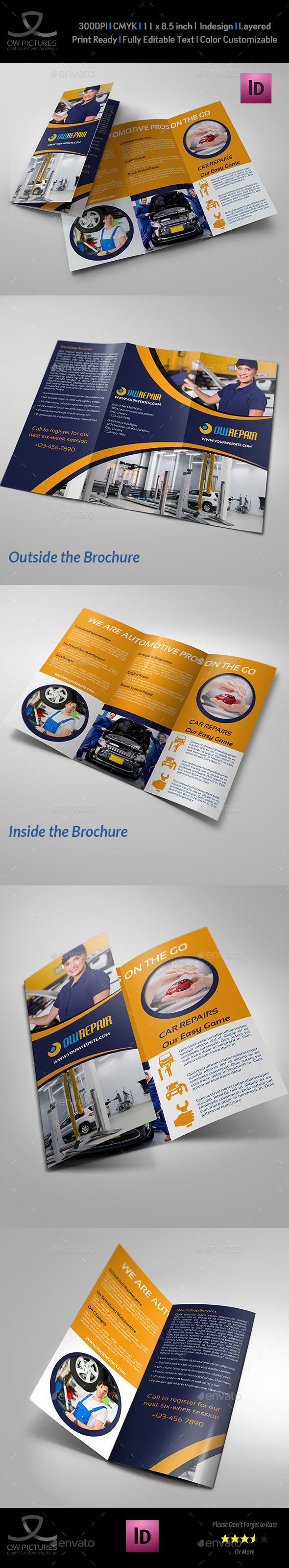 GraphicRiver Car Repair Tri-Fold Brochure Template Vol2 9865834
