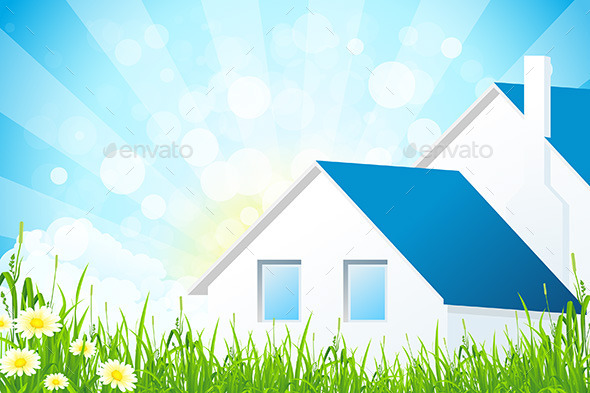 GraphicRiver Green Grass with House 9866132