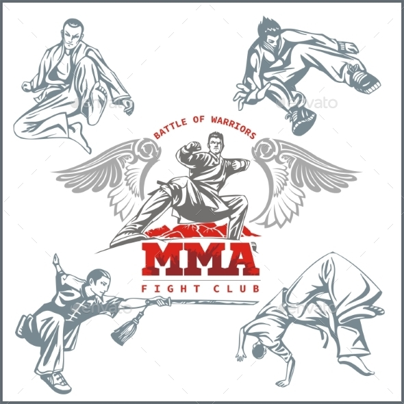 GraphicRiver MMA Labels Mixed Martial Arts Design 9866148