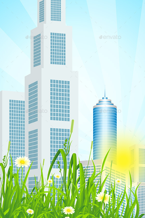 GraphicRiver Green Grass with Skyscrapers 9866150