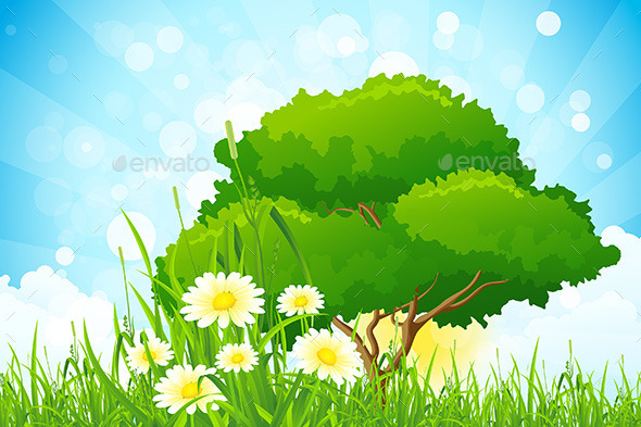 GraphicRiver Green Grass with Tree 9866153