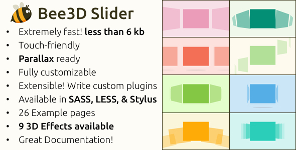 CodeCanyon Bee3D Slider Touch-Enabled Pure JS Plugin 9853467