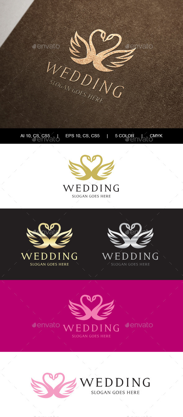 GraphicRiver Swan Wedding Crest Logo 9866812