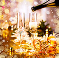 Christmas holiday decorated table. Champagne glasses - PhotoDune Item for Sale