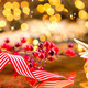 Christmas decorations over golden background - PhotoDune Item for Sale