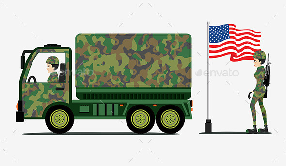 GraphicRiver Military Trucks 9868163