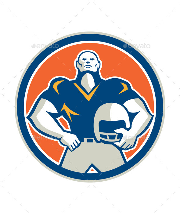 GraphicRiver American Football with Helmet Circle 9868758