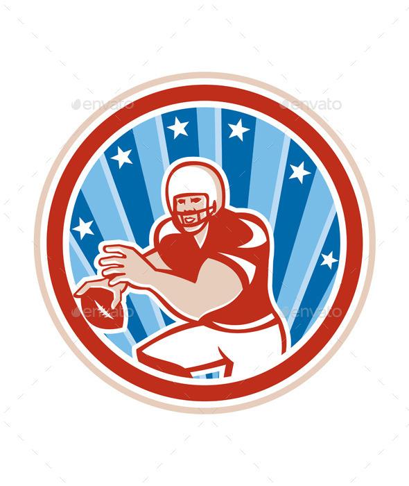 GraphicRiver American Football Quarterback Retro Circle 9868762