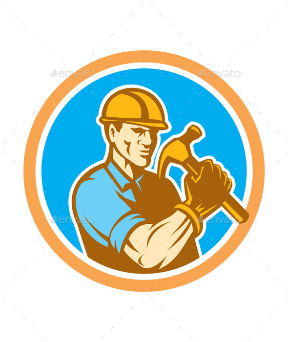 GraphicRiver Builder Carpenter Holding Hammer 9868780