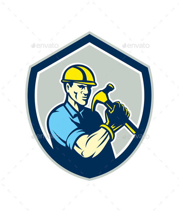 GraphicRiver Builder Carpenter Holding Hammer Shield 9868785