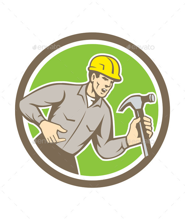 GraphicRiver Builder Carpenter Holding Hammer Circle 9868793