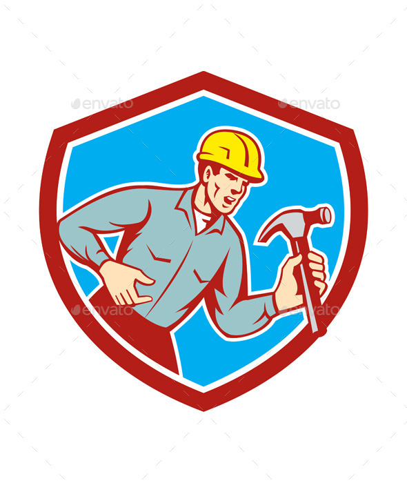 GraphicRiver Builder Carpenter Shouting Hammer Shield 9868801