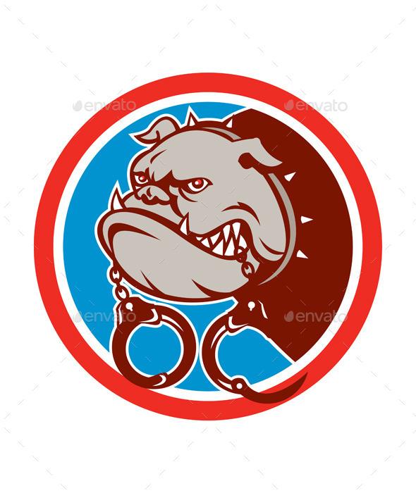 GraphicRiver Bulldog with Handcuffs Circle 9868807