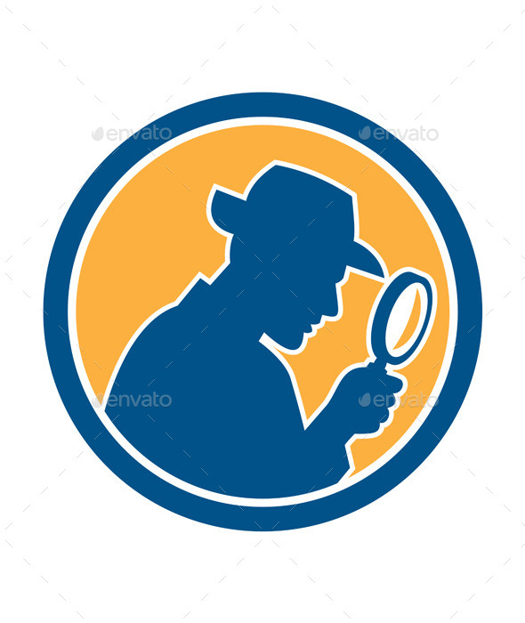 GraphicRiver Detective Holding Magnifying Glass Circle Retro 9868823