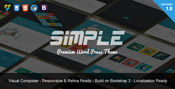 ThemeForest Simple One Page Bootstrap WordPress Theme 9751909