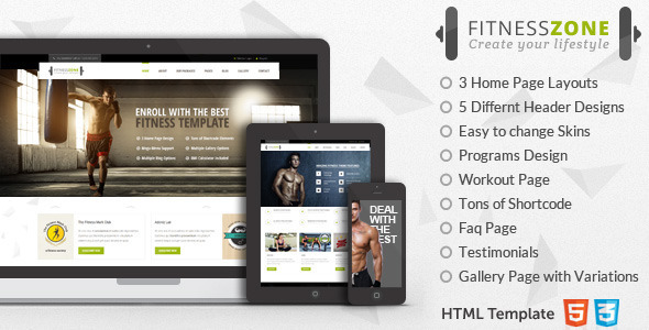 ThemeForest Fitness Zone Sports Template for Gym & Fitness 9868840