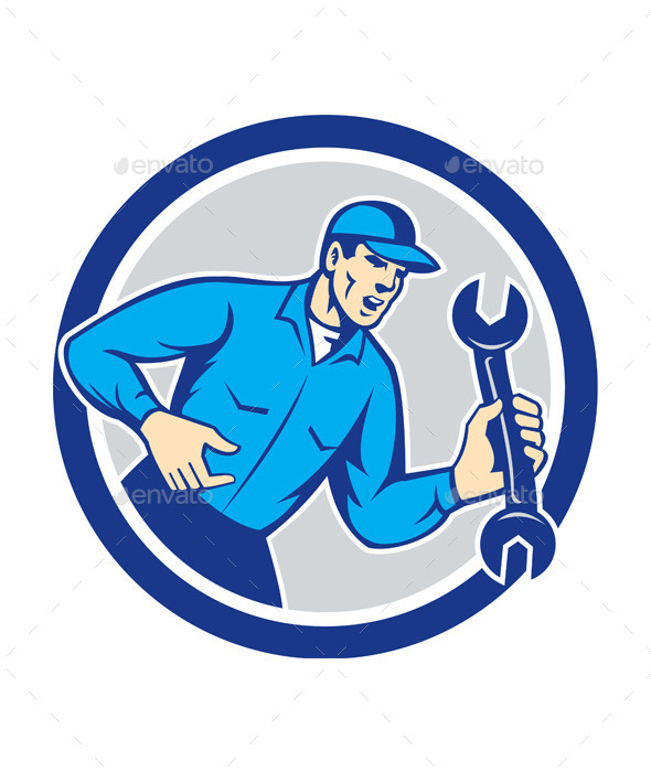 GraphicRiver Mechanic Shouting Holding Spanner Wrench 9868858