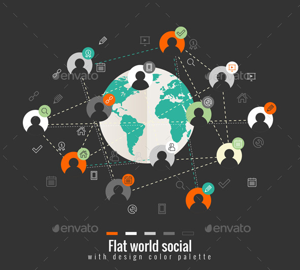 GraphicRiver Flat Design Concept with World Social Network 9844954