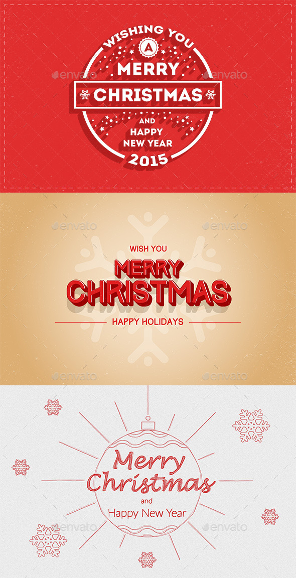 GraphicRiver New Year and Merry Christmas Greeting Cards 9869463