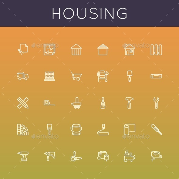 GraphicRiver Vector Housing Line Icons 9869590