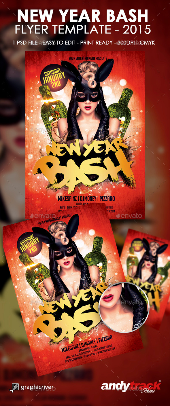 GraphicRiver New Year Bash Flyer Template 9869637