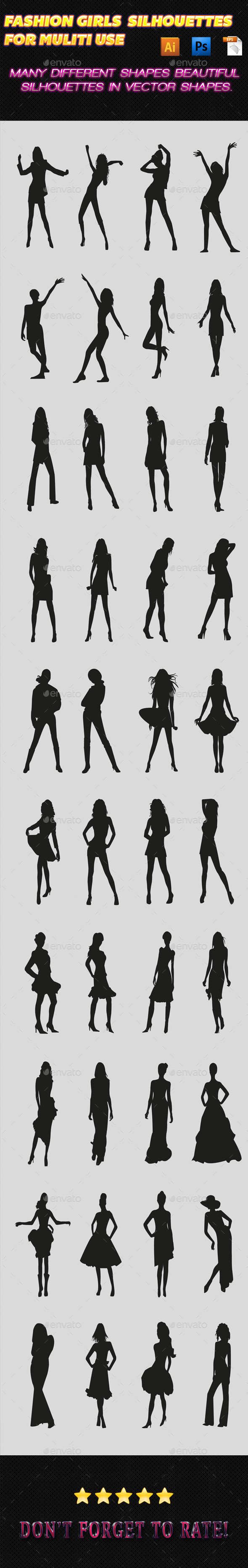GraphicRiver Fashion Girls Silhouettes 02 9869852