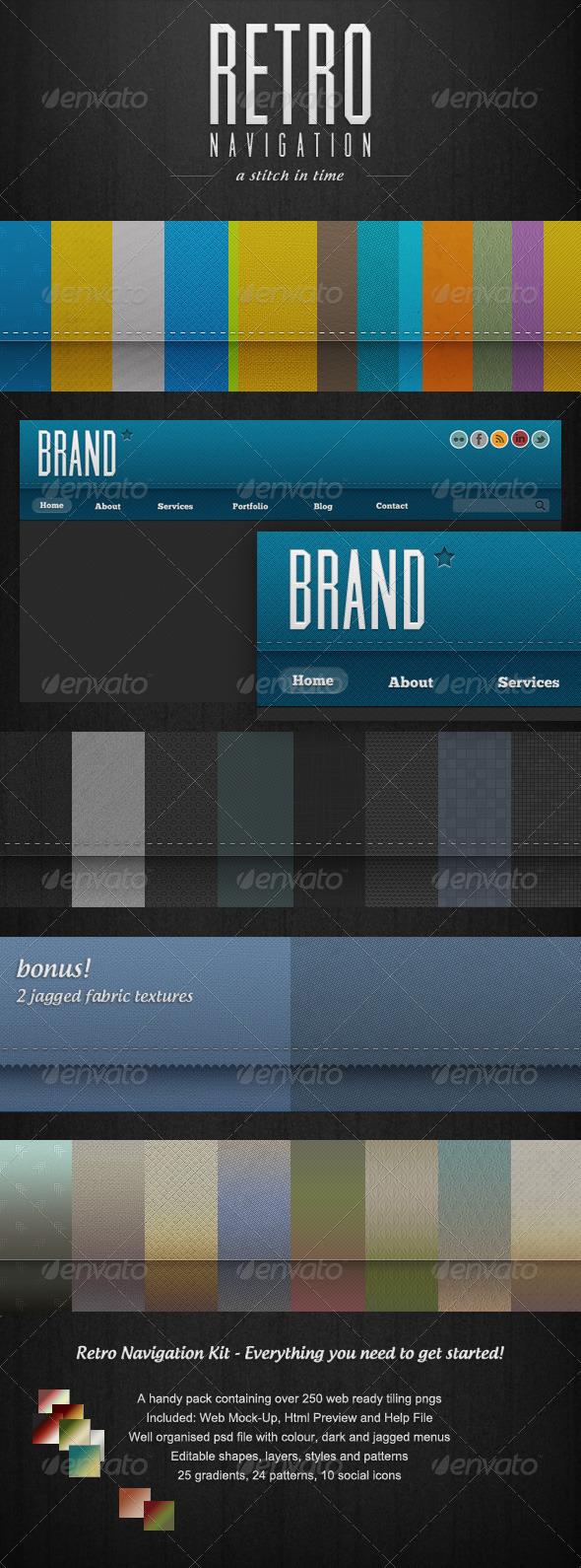 GraphicRiver Retro Navigation 250& Web Ready Tiling Menu Bars 995318