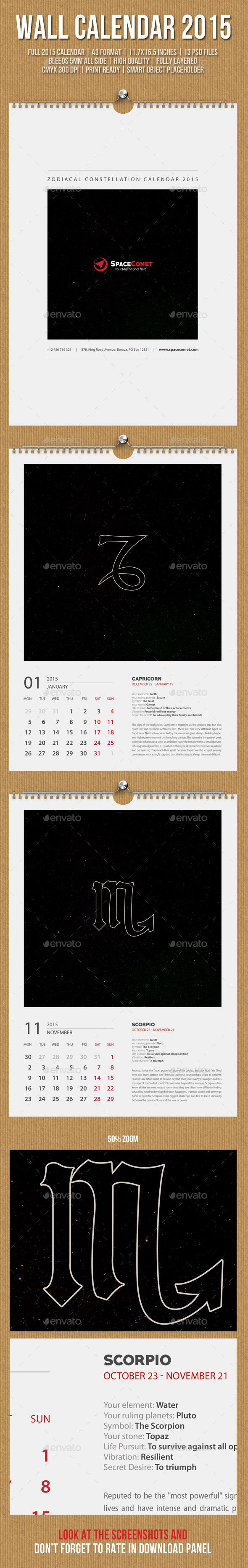 GraphicRiver Constellation Wall Calendar A3 2015 9869991
